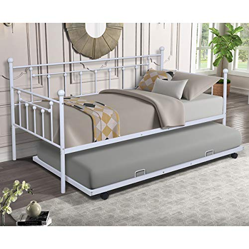 Daybed with Trundle Twin Size Metal Frame Daybed and Roll Out Trundle (White Gray)