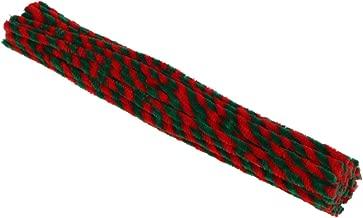 Amosfun 100 piezas de tallos de chenilla con rayas rojas verde oscuro limpiadores de tuberías artesanales para divertirse diy arts manualidades proyectos decoraciones para árboles de navidad adornos 5mmx300mm