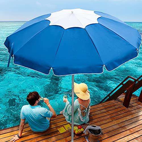 DOIFUN 6.5ft Beach Umbrella with Sand Anchor, Tilt Pole, Push Button Close, Carry Bag, Air Vent, Portable UV 50+ Protection Beach Umbrella for Garden Beach Outdoor(Sky Blue)