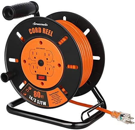 DEWENWILS Heavy Duty Open Cord Reel with 80FT Extension Cord Hand Wind Retractable 14 3 AWG product image