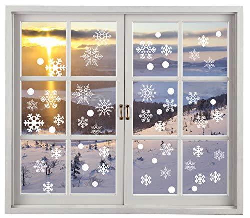 Miki&Co 200 Pegatina Copo de Nieve de la Navidad Calcomanías de Ventana - PVC sin Adhesivo para Ventanas Vidrios Navidad Decoración