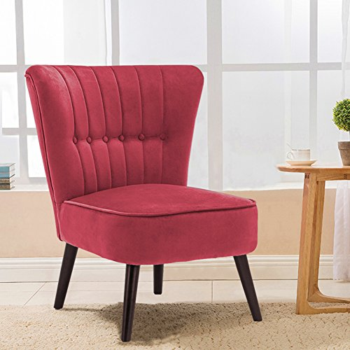 Warmiehomy Modern Velvet Occasional Chair Buttoned Chair Upholstered Accent Chair with Oak Legs for Bedroom Living Room Hallway (Wine Red)