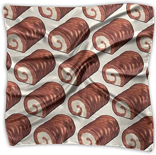 Chocolade Roll Cake Patroon Vrouwen Elegante Vierkante Zakdoek Polyester Nek Hoofd Sjaal