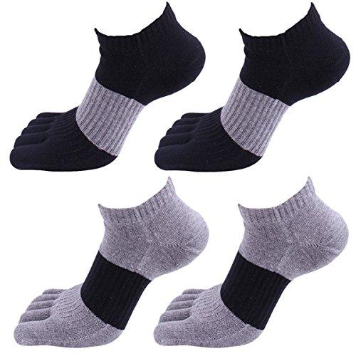 Panegy – Chaussettes Homme – Pack de 4 – Coton – Confortable et Respiration – Taille 39/45 – Chaussettes à 5 orteil doigts séparés - 01