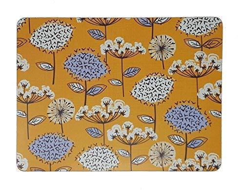 Set de 4 Prairie Fleur Pissenlit Jaune Liège Soutenu Set de Table 29 X 21.5 X 0.4cm