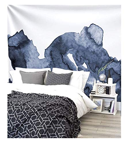Flber Navy Blue Waves Watercolor Wall Tapestry Dorm Decor,60' Lx 80' W