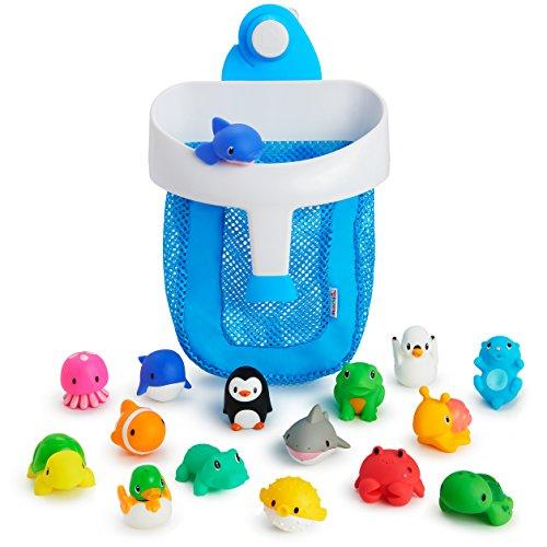 Munchkin Super Scoop Bath Toy Organizer and 16 Piece Bath Squirt Value Set