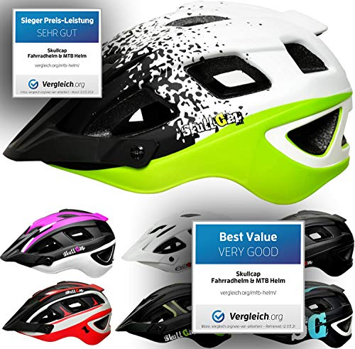 Skullcap® Fahrradhelm & MTB Helm + Visier für Herren & Damen (kingTRAIL, L (59-61 cm))