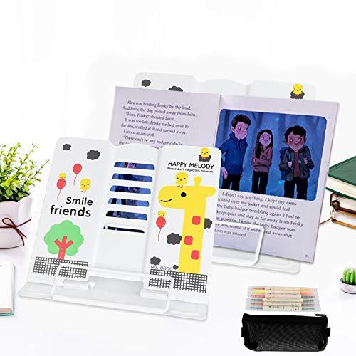 Jooheli Leseständer Metall, 8-teiliges Set, Kostenlos 6 Stifte und eine zarte kleine Stifttasche, 6 Stufen verstellbar, Bookrest Kochbuchhalter, Faltbar Tablette Buchständer für, Leseständer