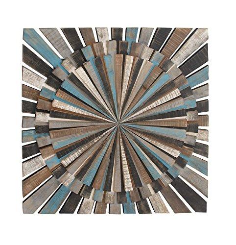 Deco 79 84309 Wooden Wall Decor, 36' x 36', Black/Gray/Brown/Cyan/White