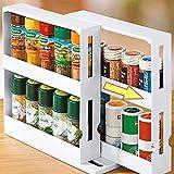 Spice Rack with Rotating Shelves, 2 Tiers 20 Spice Jars Seasoning Storage Rack, White Kitchen Storage Holder Box