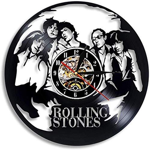 ZAWAGU Regalos de reloj de pared de vinilo Decorativo hecho en casa de CD LP Diseño moderno en 3D The Rolling Stone Rock Band música colgante decoración para fanáticos 12 pulgadas