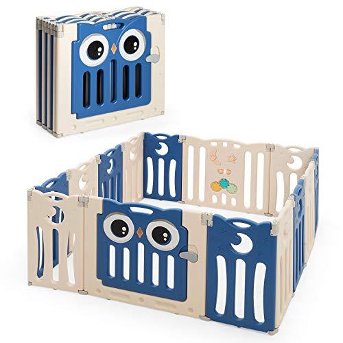 COSTWAY Laufgitter mit Tür und Spielzeugboard, Baby Laufstall faltbar, Absperrgitter aus Kunststoff, Krabbelgitter, Spielzaun, Schutzgitter für Säuglinge und Kleinkinder (Blau, 14 Paneele)