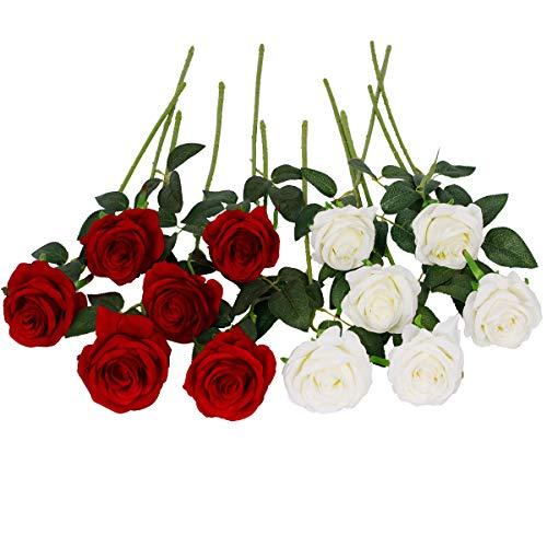 Floralsecret 12 Stück künstliche Seide Rosen Blumenstrauß Faux Flowers Home Hochzeitsfeier Dekor(Weiß, Rot)