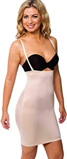 LaSculpte Women Strapless Slimming Half Slip Shapewear Under Dresses High Waist Tummy Control Body Shaper, Black/Nude, 10-22