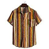 Shirt Hombre Ajuste Regular Tapeta con Botones Hombre T-Shirt Estampado Moda Bolsillos A Rayas Cuello Kent Hombres Shirt Playa Personalidad Tendencia Hombres Shirt Hawaiana TC85-Yellow 5XL