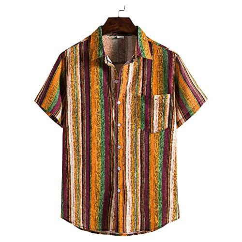 Playa Shirt Hombre Verano Básica Ajustado Elástica Hombre Shirt Moderna Moda Estilo Hawaiano Estampado Hombre Manga Corta Urbano Casual Vacaciones Cárdigan Camisa