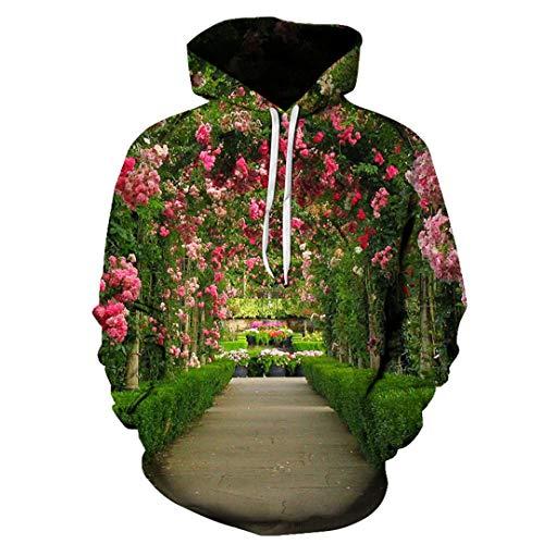 JSR-Hoodie Sudadera con Capucha Unisex Sudadera con Capucha con Estampado de Flores 3D de Cuello Redondo Creativo AW-22637 XXXL