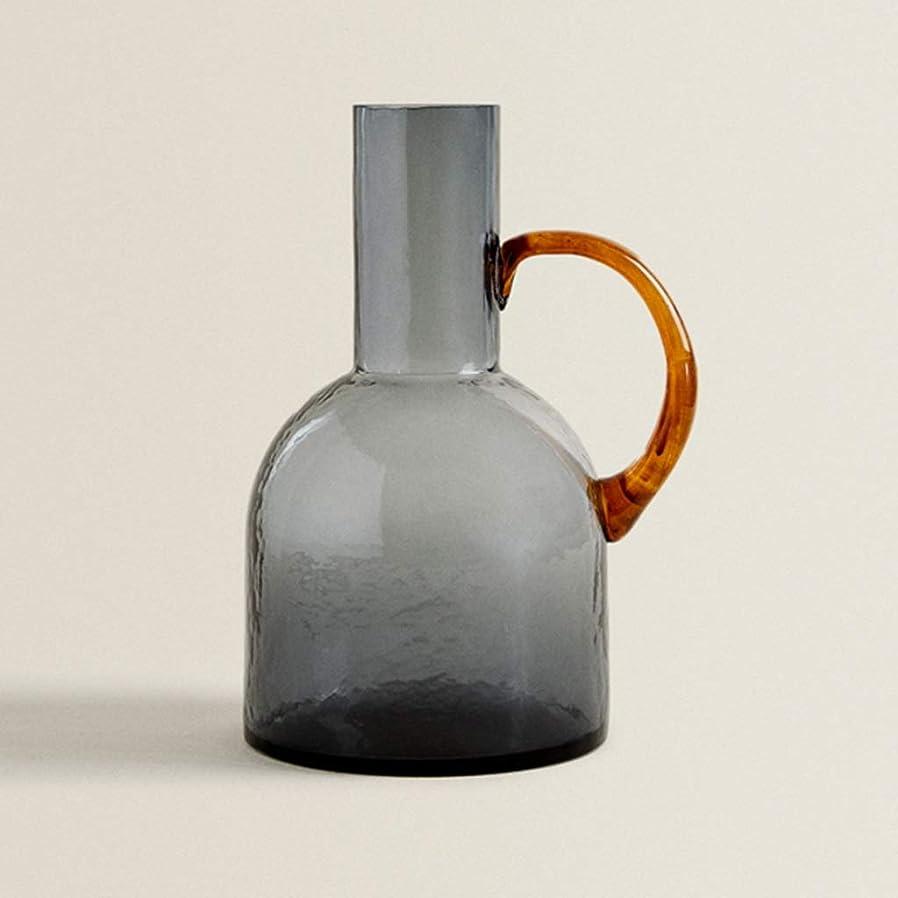 夜間精緻化風邪をひくQTKGG クリスタルフラワーベース花瓶、家庭用フラワーベースジャー、灰色の厚いガラス、耐久性に優れた、純粋な質感 花瓶