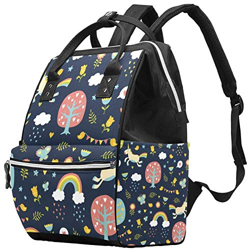 Backpacks Diaper Bag Laptop Rucksack Lightweight Hiking Camping Travel Daypack for Women Cute Unicorn Love Tree Cartoon Animal