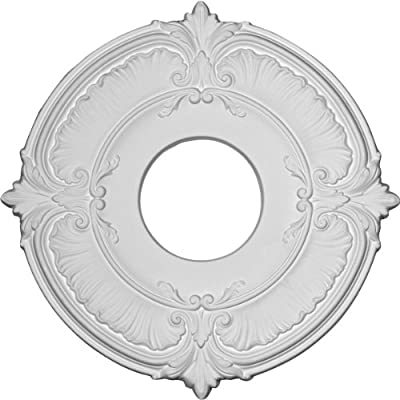 """Ekena Millwork CM12BRACS 12 1/2"""" OD x 3 7/8"""" ID x 3/4"""" P Bradford (fits Canopies up to 6 5/8"""") Hand-Painted Ceiling Medallion, Antique Copper"""