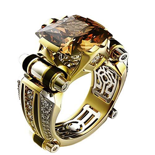 Anillos de nudillo, anillos de dedo, vintage para hombres, diamantes de imitación incrustados, anillo de dedo tallado, regalo de joyería de boda - negro US 13