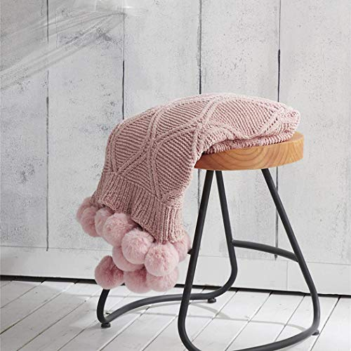 SJHP Manta de Lana de Ganchillo algodón con Pompones con Dos Camas Individuales, Manta de Punto, decoración del hogar y sofá Rose Red