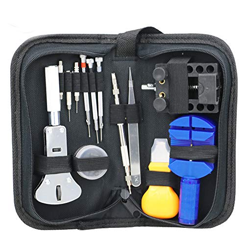 Detrade Uhrmacher Werkzeug Set Gehäuseöffner Link Federsteg Band Pin Hand Remover Hammer Auto Werkzeuge Reparieren (Black)