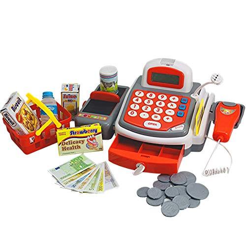 elektronische Spielkasse für Supermarkt - Kaufladenkasse Kaufmannsladen Scannerkasse elektrische Kasse Spielgeld und Zubehör - Kreditkartenzahlung und Mikrofon