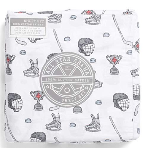 All Star Arena Hockey Scrimmage Twin Sheet Set Cotton Sateen Boys Bedding Grey White 3 Pc Set