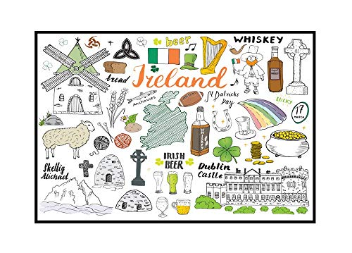 Ireland Sketch Doodles of Hand Drawn Irish Elements Set with Flag & Map of Ireland, Celtic Cross, Castle, Shamrock, Celtic Harp, Mill, Sheep, & Whiske 9019151 (24x16 Framed Gallery Wrapped Stretched Canvas)