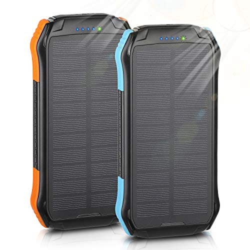 Solar Charger, ENEGON 2 Pack Outdoor Solar Panel Power Bank 12000mAh with 15 LEDs Flashlight and 2 Outputs-5V/2.1A & 1 Input for iPhone, Android Smartphones and Other Devices for Camping Hiking
