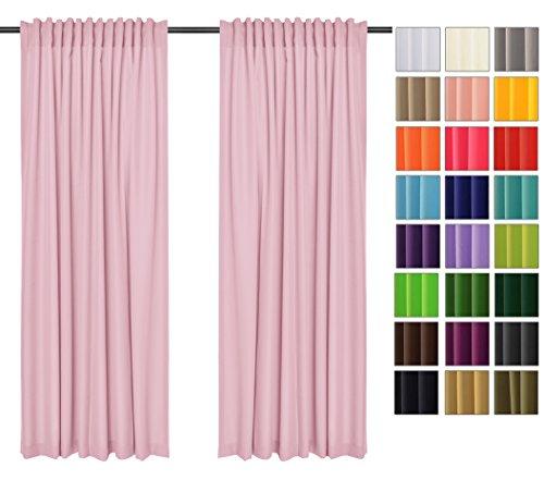 Rollmayer Vorhänge mit Tunnelband Kollektion Vivid (Pastellrosa 50, 135x175 cm - BxH) Blickdicht Uni einfarbig Gardinen Schal für Schlafzimmer Kinderzimmer Wohnzimmer