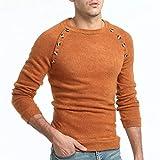 yuquanxin cardigan uomo i nuovi uomini coltivare a maniche lunghe di colore solido button-cucitura maglione maglione selvatici piacere indossando (color : camel, size : l)