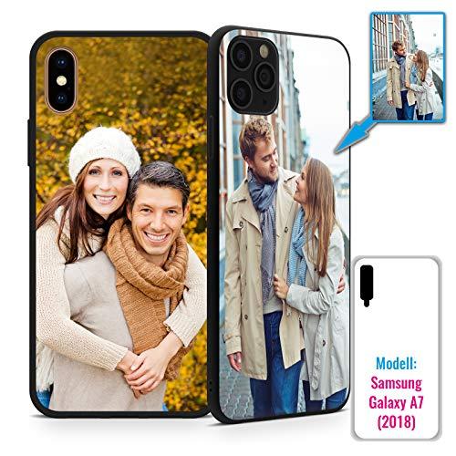 PixiPrints Foto-Handyhülle mit eigenem Bild kompatibel mit Samsung Galaxy A7 (2018), Hülle: TPU-Silikon in Schwarz-Matt, personalisiertes Premium-Case selbst gestalten mit flexiblem Druck