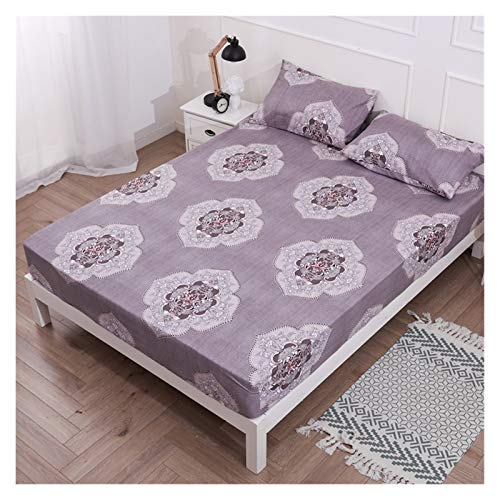 RHBLHQ Sábana Protector de colchón Impreso Cubierta de colchón Impermeable for Dormitorio Suave Ropa de Cama/Cama Doble (Color : Color 9, Size : US King 76X80inch)