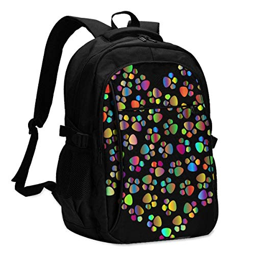 asfg Prismatic Paw Heart with Multifunctional Personalized Customized USB Backpack, Student School Outdoor Backpack,Travel Bag Laptop Bookbags Business Daypack.