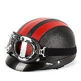 Helmets Casco Moto Jet ECE Homologado -Ciclomotor Casco,con Gafas de Cascos Jet Vintage Cruiser Unisex Moto Scooter Medio Casco Jet Estilo Alemán ECE Homologado F,55~62CM