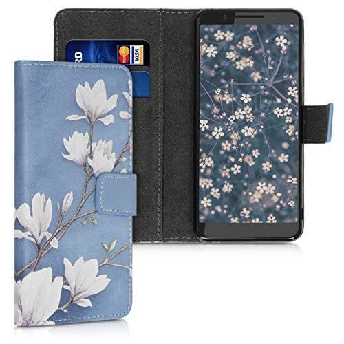 kwmobile Wallet Hülle kompatibel mit Alcatel 3 / 3L (2019) - Hülle mit Ständer Kartenfächer Magnolien Taupe Weiß Blaugrau