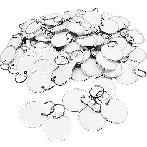 100 Pack White Metal Rim Tags Key Tags 1-1/4-Inch Round Paper Tags with Split Rings,Small Coded Tag Key Chain Keyring Set for Keys,Kids Backpack,Luggage,Pets