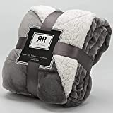 Sherpa Soft Throw & Blanket for Couch Big Size 60' X 70', Thick Warm Fuzzy Cozy Throws Blankets for Bed, Sofa and Travel, Reversible Plush Fleece Blankets, Gift Packaged Grey