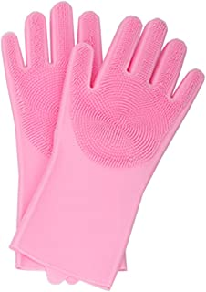 Guantes de goma para lavar platos de cocina Uso doméstico femenino Limpieza a prueba de agua Goma de silicona duradera para lavar la ropa -L_ Par rosa