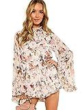 Romwe Women's Floral Printed Ruffle Bell Sleeve Loose Fit Jumpsuit Rompers Multicolor Medium