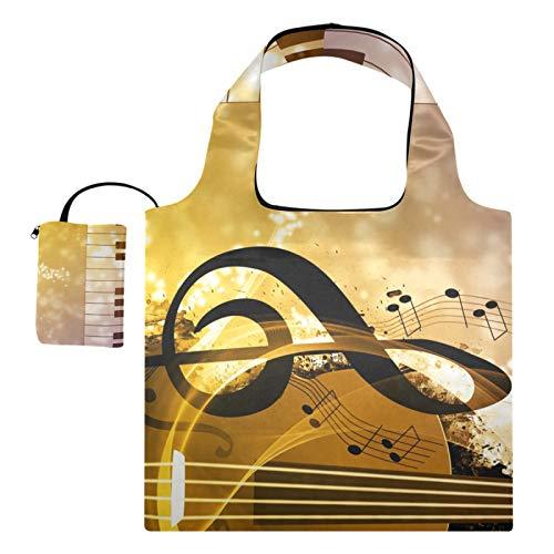 XiangHeFu Bolsas de compras reutilizables para regalo de comestibles, gran capacidad, plegable, nota musical para guitarra y piano artístico
