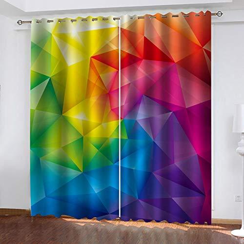 WLHRJ Cortina Opaca en Cocina el Salon dormitorios habitación Infantil 3D Impresión Digital Ojales Cortinas termica - 234x183 cm - Patrón de impresión geométrica Colorida