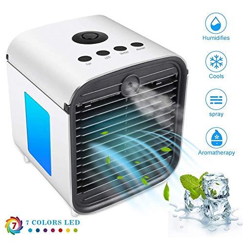 Nuovo Mini Raffrescatore,3-in-1 Personal Umidificatore Purificatore D'aria,Mini USB Climatizzatore per Casa/Ufficio/Camper/Garag (bianco)