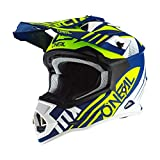 O'NEAL | Casco de Motocross | MX Enduro | Estándar de Seguridad ECE 22.05, ventilaciones para una óptima ventilación y refrigeración | Casco 2SRS Spyde 2.0 | Adultos | Azul Blanco Amarillo | Talla M