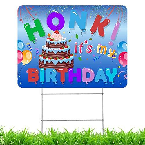 Apipi Honk! It's My Birthday Yard Schild - doppelseitiges Geburtstags-Hofschild mit Metall-H-Stakes, wasserdicht, gewellt für soziale Distance, Geburtstagsparty, Rasen und Hinterhof-Dekoration