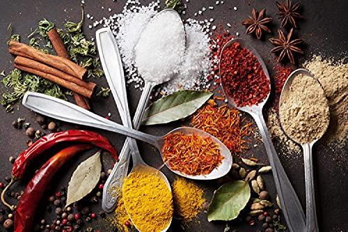 XIAOMA Chili Grain Spice Spoon Gewürz Küche Leinwand Malerei Druck Poster und Restaurant Gedruckte Kunst Bild, Wohnzimmer Küche Dekoration Rahmenlos (20x35cm)