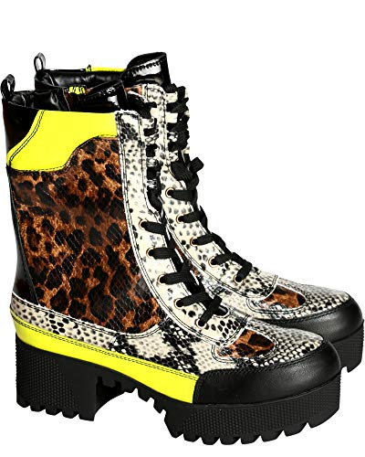 Bamboo POWERFUL-06S Leopard Lug Sole Lace Up Chunky Heel Platform Ankle Boot